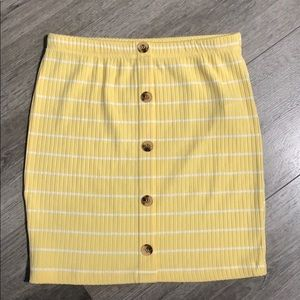 Yellow striped mini skirt from Forever 21